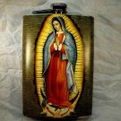 Stainless Steel Flask - 8oz., Virgin Mary with Tan Background