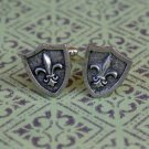 Hand Made Cuff Links, Silver Fleur De Lis Shields