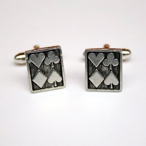Hand Made Cuff Links, Silver Cards with Four Card Suits