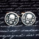 Hand Made Cuff Links, Silver Skull and Crossbones
