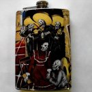 Stainless Steel Flask - 8oz., Day of the Dead Music Couple with Musicians