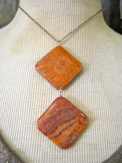 Double Pendant Orange Agate Stone, Silver Chain Necklace