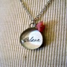 """Believe"" Bubble Pendant with Pink Flower, Silver Chain Necklace"