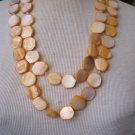 Hand Made, Orange Shell and Glass Beaded Necklace, Extra Long