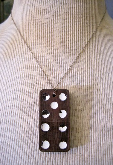 Vintage Brown and White Wooden Domino Pendant 5 & 4, Silver Chain Necklace