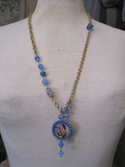 Angel Picture on Bottle Cap with Vintage Blue Beads on Multi Gold Chains, Necklace