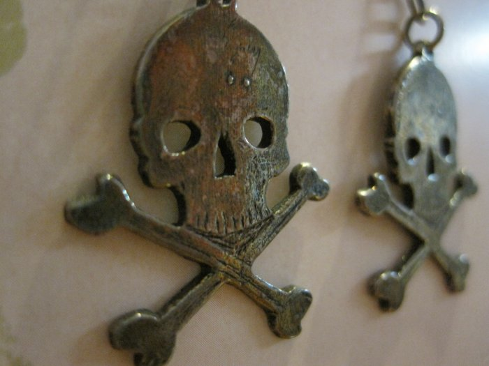 Hand Crafted Silver Skull and Cross Bones Earrings