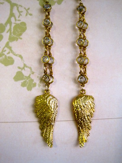 Gold Wrapped Crystals with Gold Angel Wings, Dangle Earrings