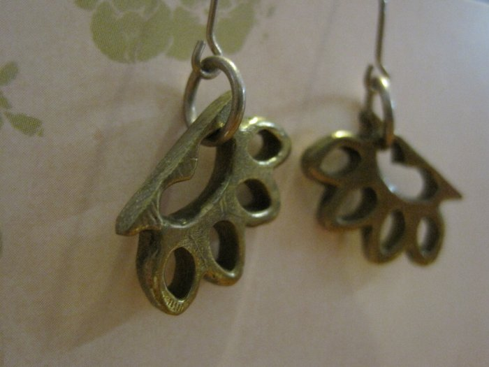 Hand Crafted Brass Knuckle Charm Earrings
