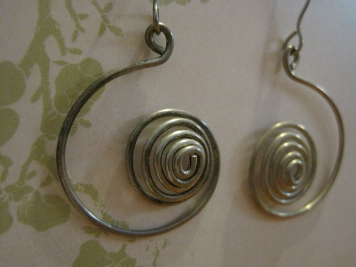 Hand Made Silver Wrapped Ying and Yang Circle Earrings