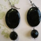 Flat Black Disk Beads with Black Glass Beads, Earrings