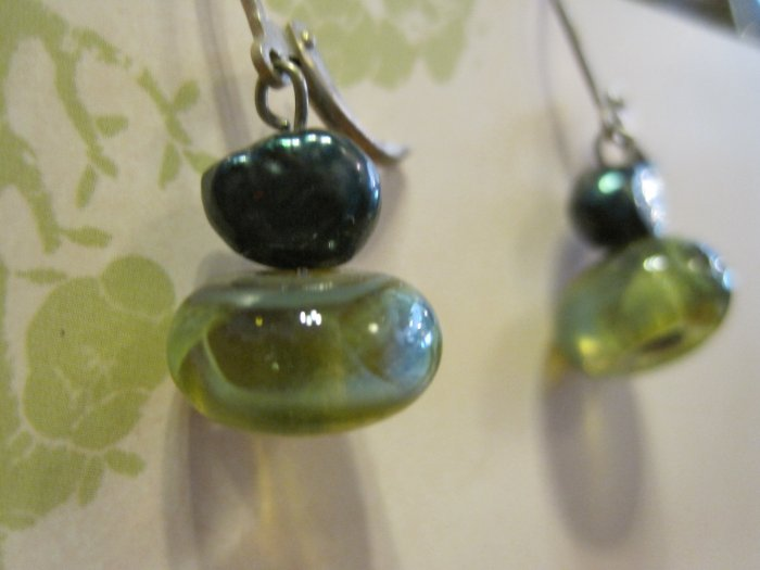 Hand Blown Glass Beads with Blue/Gray Pearls, Earrings