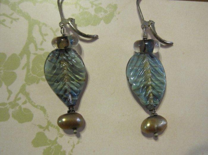 Hand Blown Glass Leaf Pendants with Tan Pearls, Earrings