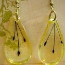 Retro Resin Drops with Dried Purple Flowers Within, Earrings