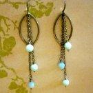 Blue Stone Beads, Silver Chians, Sterling Silver Hoops, Earrings