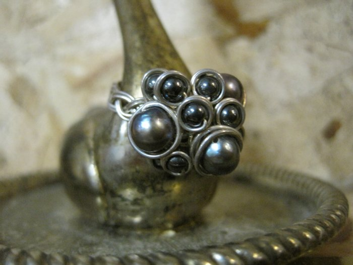 "Hand Made Gray Pearls Wrapped in Silver Wire, ""Berry"" Ring, Size 5.5"