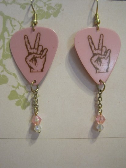 Pink Guitar Picks, Peace Sign Hands, Pink Beads, Hand Made Earrings