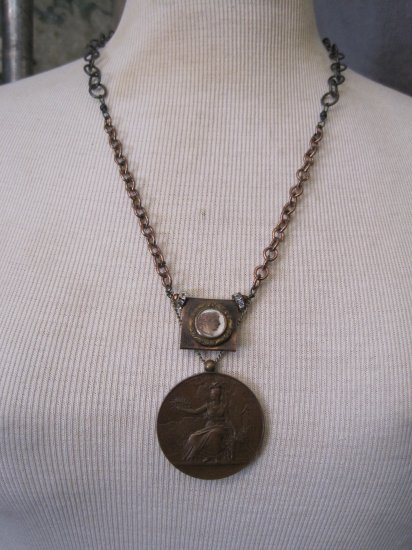 Victorian French Mother of Pearl Button, 1849 Copper Medallion, Copper Chains, Necklace