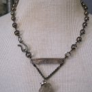 Herkimer Diamond Pendant with Mother of Pearl Accent, Beaded Necklace