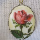 Pink Rose Bud Cameo Pendant, Necklace