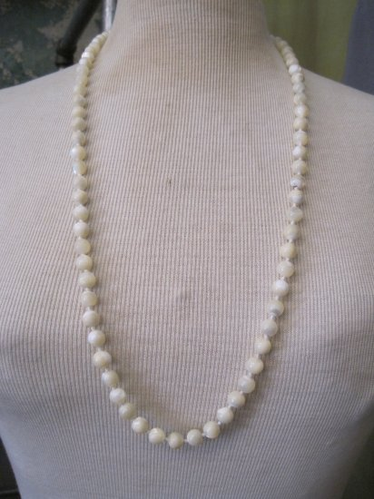 Vintage White Stone Bead, Long Necklace
