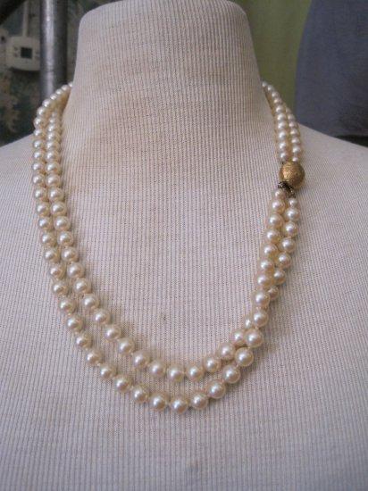 Vintage Double Stand Faux Pearl Necklace, Unique Clasp