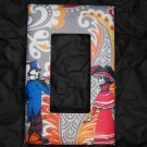 Single Switch Plate Cover, Flat, Day of the Dead Couple with Pattern Background