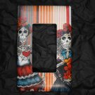 Single Switch Plate Cover, Flat, Day of the Dead Females with Stripped Background