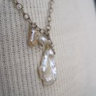 Petite Fresh Water Pearl Charm and Accent Beads, Silver Chain Necklace