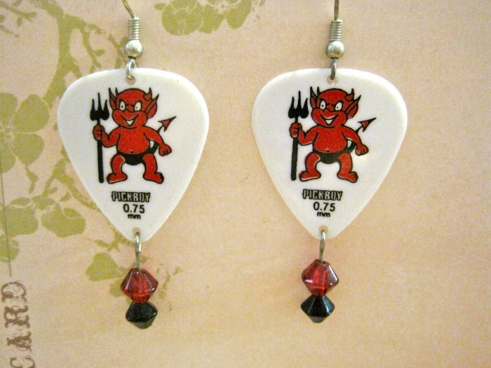 Hand Made Lil' Devil White Guitar Pick Earrings with Red and Black Glass Beads