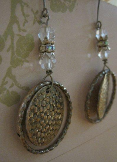 Hand Made Silver Disk, Hoop, and Crystal Beaded, Earrings