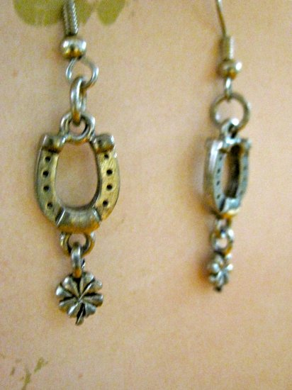Silver Tone Horseshoe and Four Leaf Clover Charm Earrings