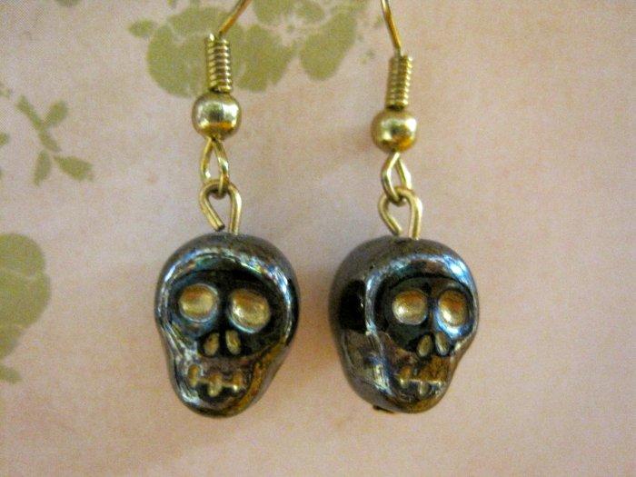 Gray Glass Skull Bead Charm Earrings