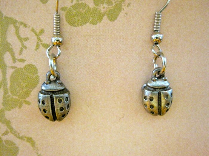 Little Silver Lady Bug Charm Earrings