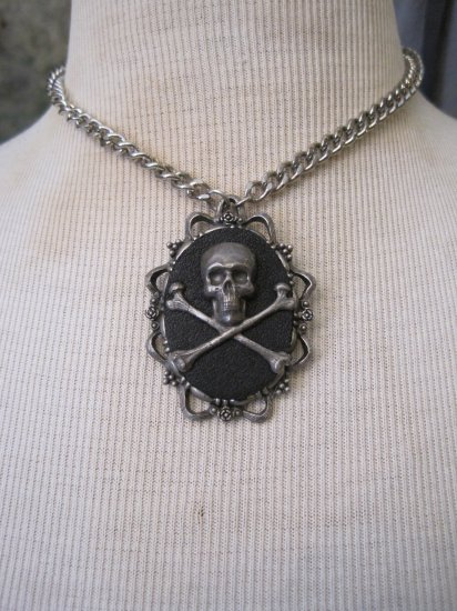 Pewter Skull and Crossbones Cameo on Black Background, Thick Silver Chain Necklace