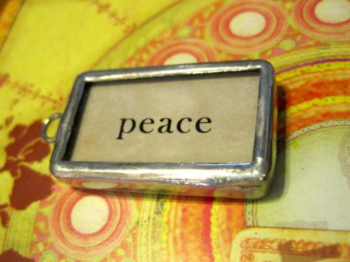 """Peace"" Flashcard Charm, Necklace Pendant"