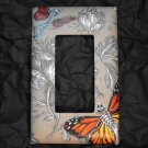 Single Switch Plate Cover, Flat, Skeleton Faced Butterflies with Print Background
