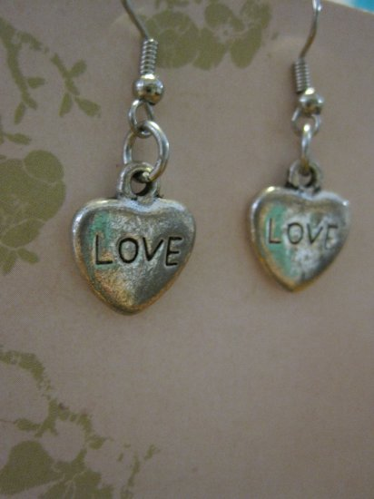 """""""LOVE"""" Etched Silver Colored Stone Heart Earrings"""