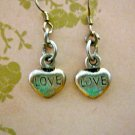 "Small ""LOVE"" Etched Silver Colored Stone Heart Earrings"