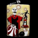 Stainless Steel Flask - 8oz., Day of the Dead Skeleton Bowler with Trophy