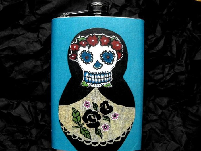 Stainless Steel Flask - 8oz., Day of the Dead Russian Stacking Doll