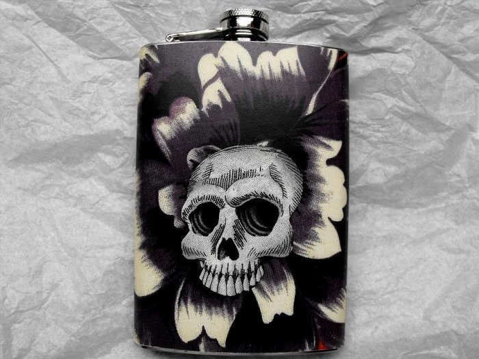 Stainless Steel Flask - 8oz., Skeleton with Cream and Purple Flower Background