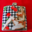 Stainless Steel Flask - 6oz., Pin Up Girl with Cherry Print Background