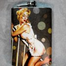 Stainless Steel Flask - 8oz., Pin Up Girl in White with Polka Dot Background