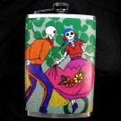 Stainless Steel Flask - 8oz., Day of the Dead Couple with Green Background