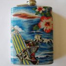 Stainless Steel Flask - 8oz., Day of the Dead Surfer with Wave Background