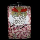 Stainless Steel Flask - 8oz., Big Owl with Flower Background