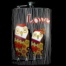 "Stainless Steel Flask - 8oz., Two Owls with ""Love"" Banner"