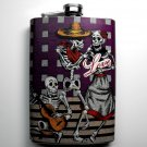 Stainless Steel Flask - 8oz., Day of the Dead Couple with Purple Background