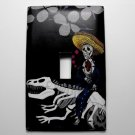 Single Switch Plate Cover, Day of the Dead Skeleton with Dino Bones
